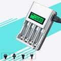 1.2 v 4 slots para aa aaa nimh nicd carga rápida carregador de bateria com display lcd com au eua reino unido da ue plugue