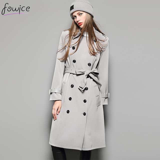 Newest Fashion Grey/Black/Brown Elegant Women Long Trench Winter Casual Turn-down Collar Double Breasted Wide-waisted Overcoat