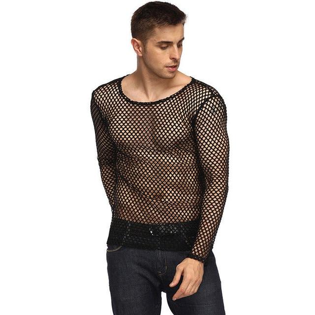 af6bafa6548c M-2XL Sexy Muscle Men Long Sleeve hollow Black Mesh Sheer Tshirt Club Party  Transparent Fishnet T shirt
