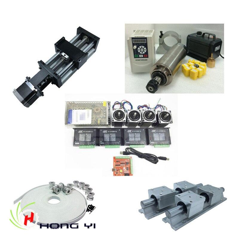 Linear Modules effective stroke 300mm + 2.2KW Spindle motor kit+ SBR20 Linear Guides + nema23 stepper motor kit +3M timing belt