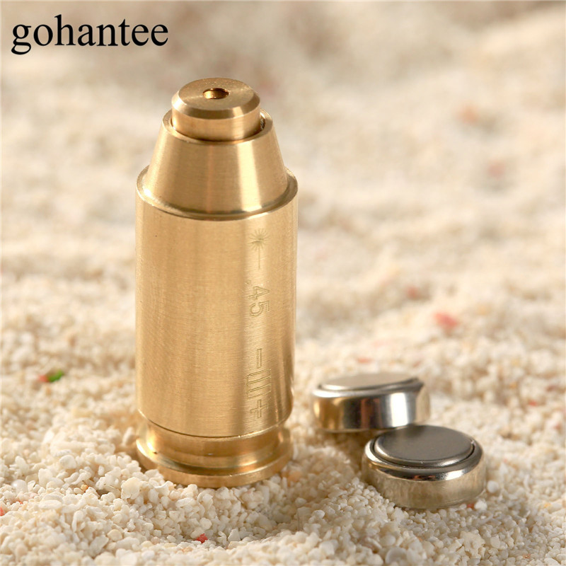 gohantee Hunting Boresighter 45 ACP Cartridge Visible Copper Red Dot Laser Sight Bullet Shape Bore Sighter Gun Brass Boresighter