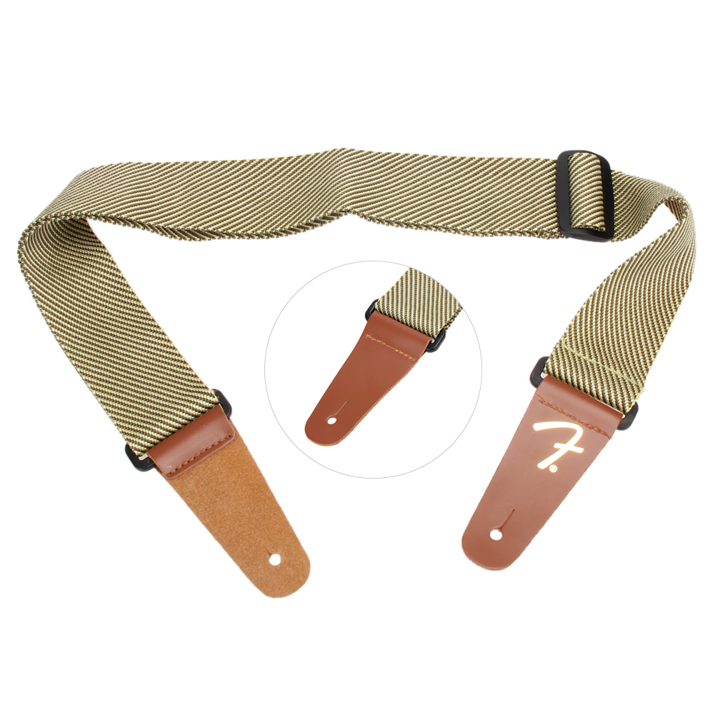 Soft Cool Pattern Note Rhythm Adjustable Polyester Bass Acoustic Electric Folk Guitar Strap with Leather Ends