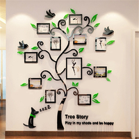 2016 New 11pcs Photo Frame Tree Acrylic 3d Three Dimensional Wall Stickers TV Sofa Wall Decorative
