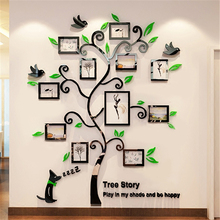 2016 New 11pcs Photo Frame Tree Acrylic 3d Three-dimensional Wall stickers TV Sofa Decorative Diy Crystal Decals Mural Art