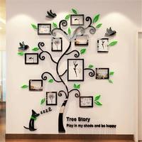 2016 New 11pcs Photo Frame Tree Acrylic 3d Three Dimensional Wall Stickers TV Sofa Wall Decorative