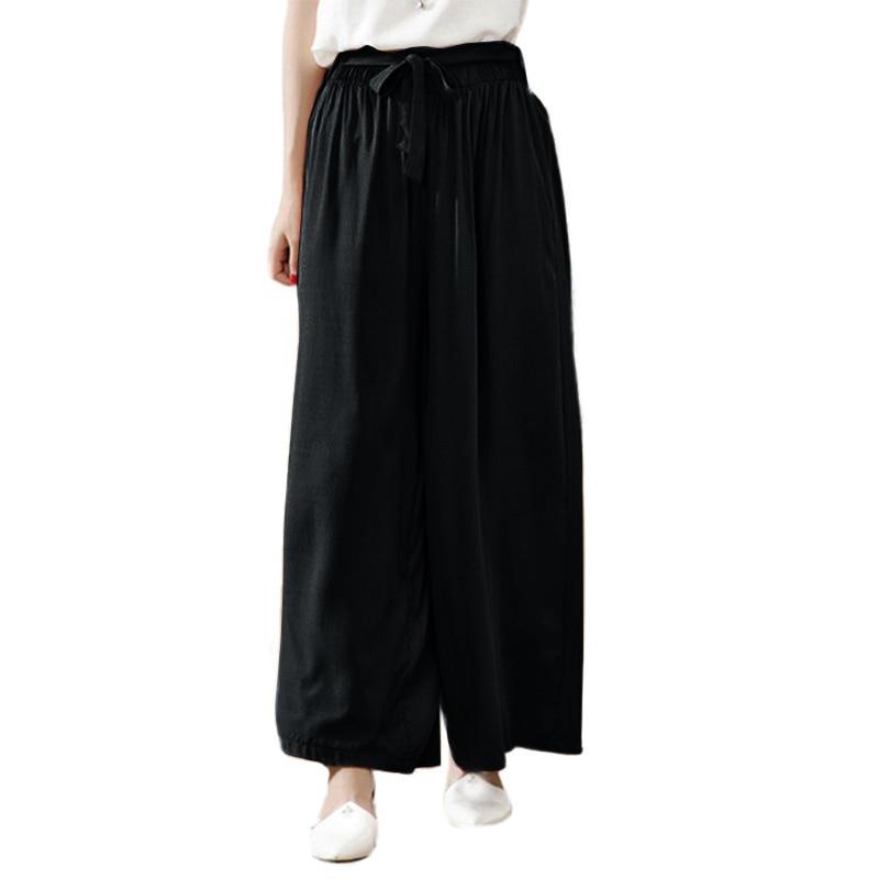 3XL 5XL Plus Size Women   Wide     Leg     Pants   Summer Casual Loose baggy   pants   Elastic Waist Cotton Long   Pants   Trousers female Pantalon
