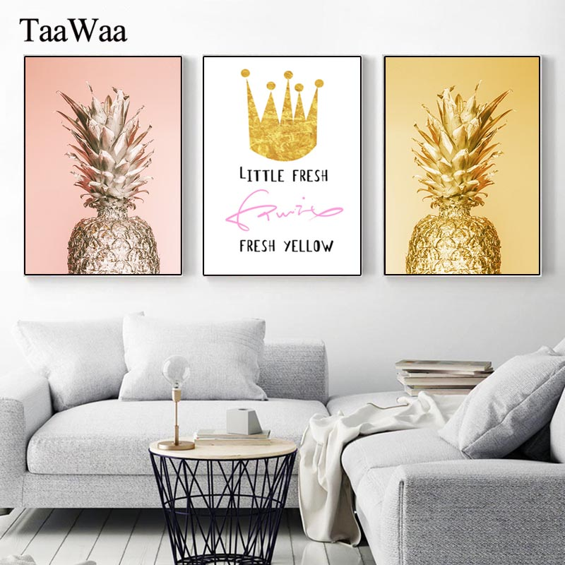 Modern Gold Yellow Pineapple Crown Canvas Wall Art Minimalism Poster and Print Nordic Painting for Living Room Decoration