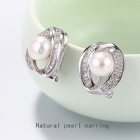 s925 pure silver ear clip for women Micro pure silver inlay zircon crystal a undertakes natural pearl earrings