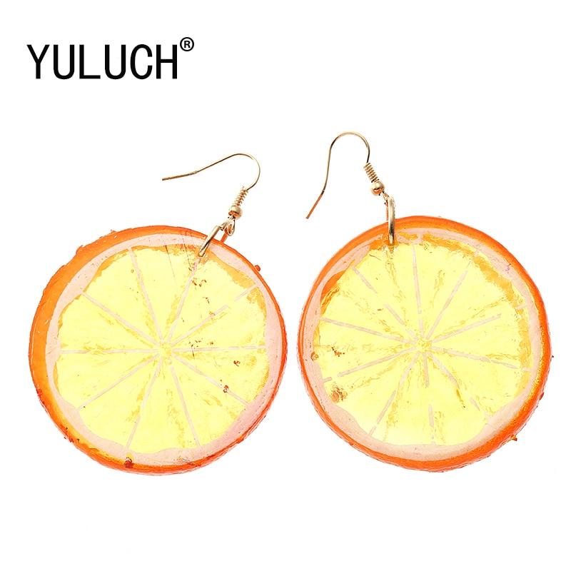 YULUCH New Design 3 Medium Colors Tropical Fruit Lemon Pendant Earrings for Women Vacation Beach Jewelry Girls