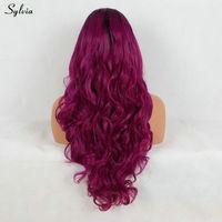 Сильвия натуральный волос темно фиолетовый цвет синтетический парик синтетические волосы на кружеве средства ухода за кожей волна термостойкие вечерние ти
