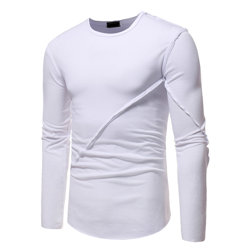 New Mens Clothing Simple Round Neck Stitching Solid Color Slim Long Sleeved Tshirt Man Male Tops 3 Colour