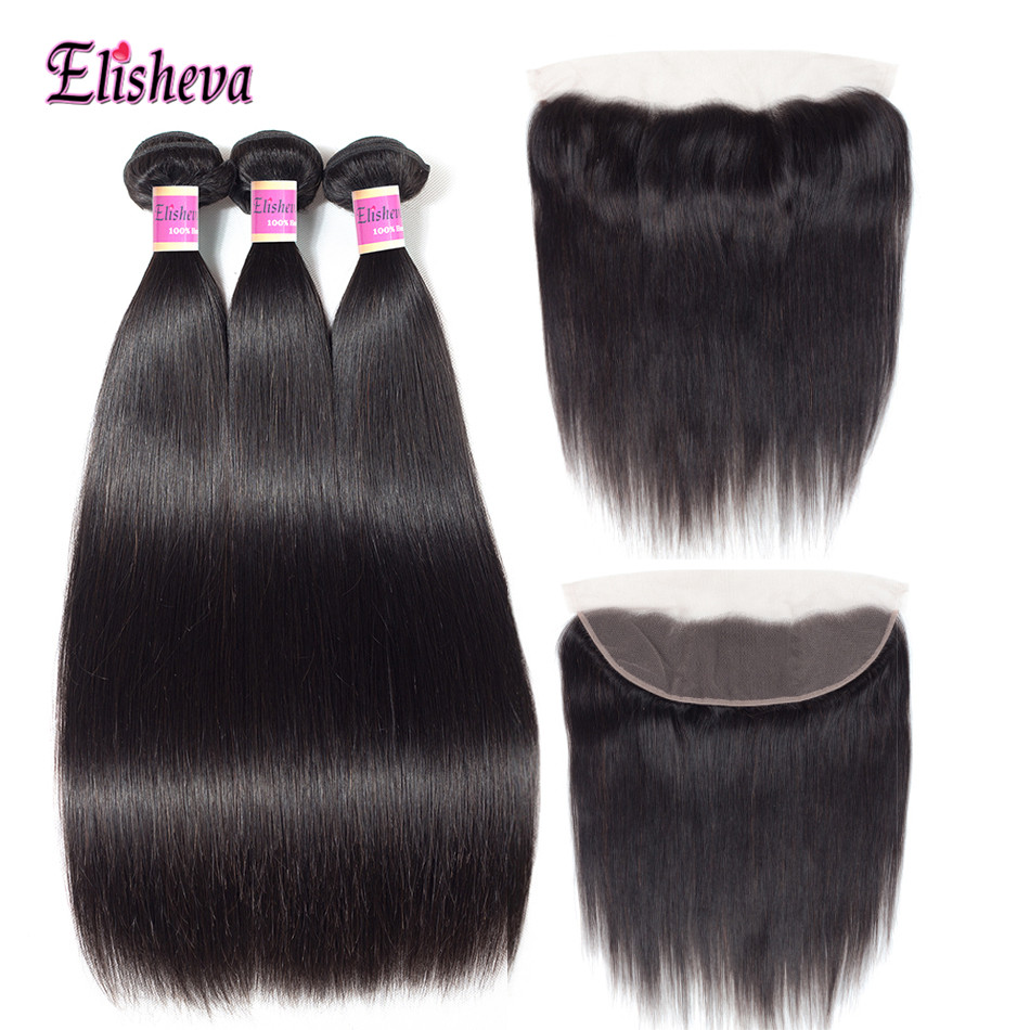 Elisheva Brazillian Straight Hair 3 Bundles With Frontal Non Remy Human Hair Ear to Ear Natural
