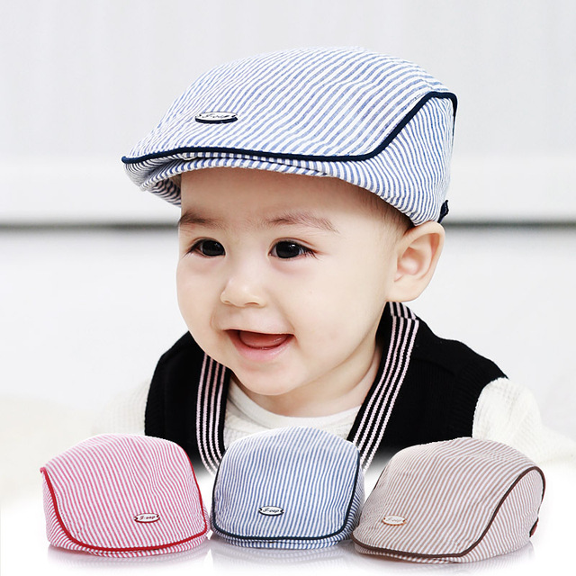 aee4c16179b Strip Cotton Baby Hat Infant Striped Cap Beret Baby Boy Accessories for 1-2  Years
