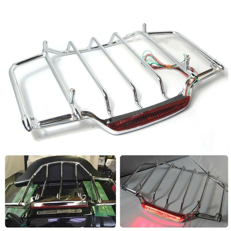Chrome LED Light Air Wing Trunk Luggage Mounting Rack For Tour Pak Trunk Pack Electra Street