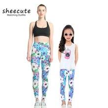 SheeCute familia Matching Outfits primavera moda Otoño impresión leggings madre e hija pantalones niñas leggings