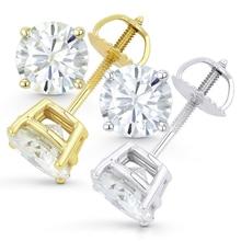 Genuine14K 585 белого и желтого золота Push Back 8 мм 4ctw F цвет тесты положительный Выращенный в лаборатории Муассанит diamond серьги для женщин