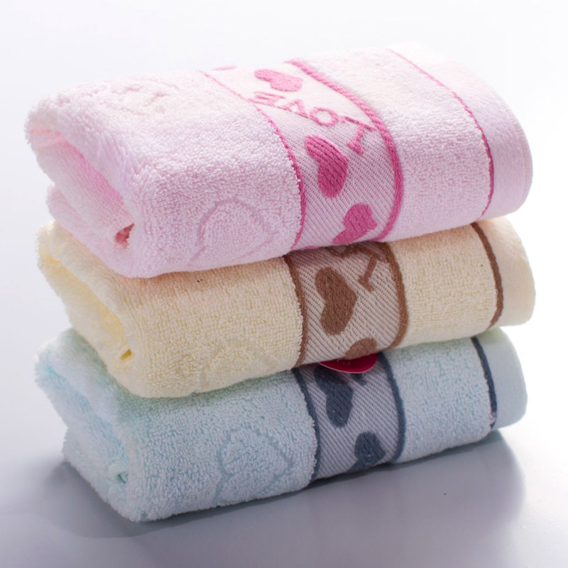 Jacquard LOVE Soft Cotton Towel Home Cleaning Face Bathroom Hand Hair Bath Beach Towel for Adult Commodity Multifunction