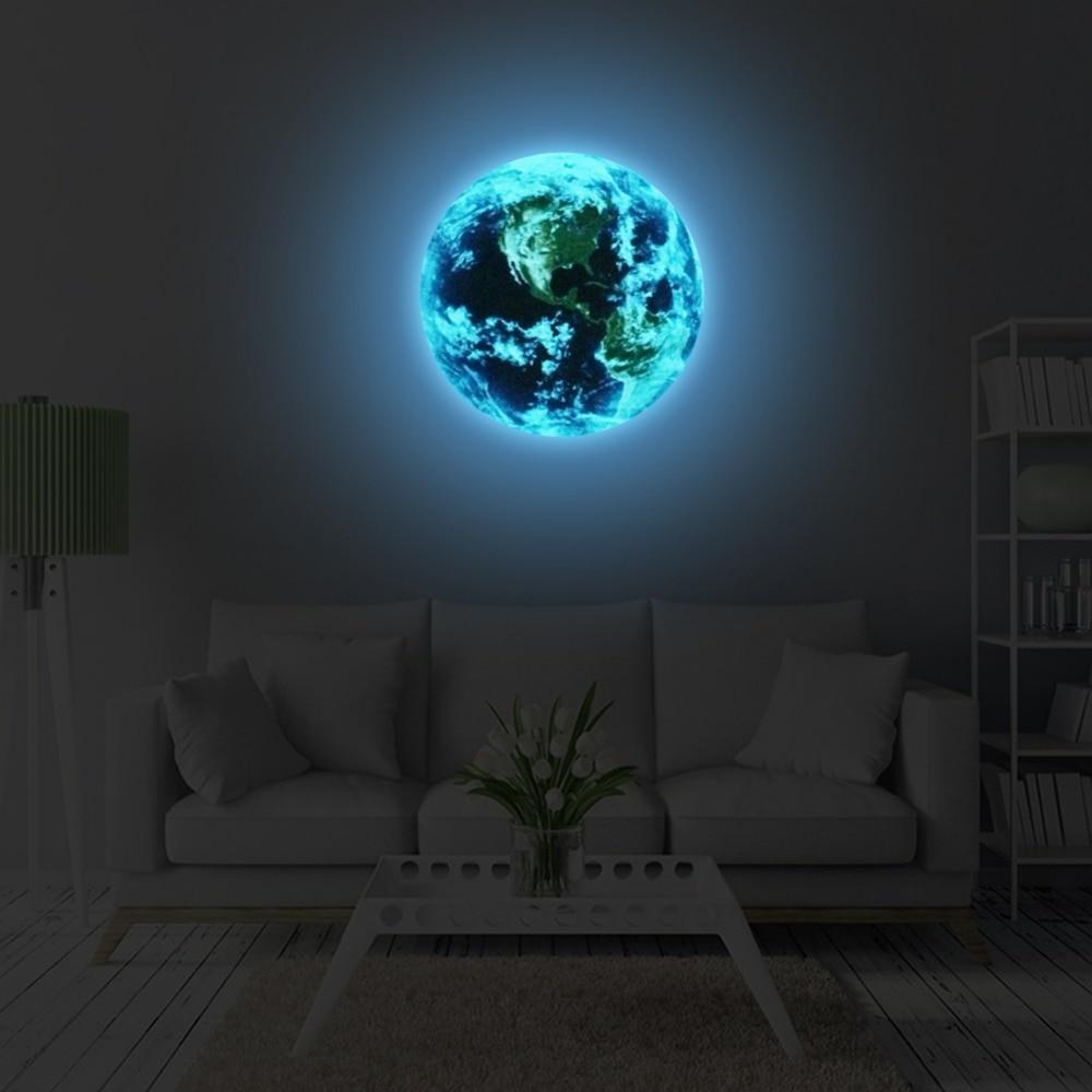 חדש 1 יחידות כחול זוהר כדור הארץ הקריקטורה DIY 3d מדבקות קיר ילדי חדרי בית תפאורה סלון קיר מדבקת חדר שינה חמה למכירה