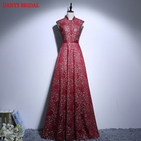 Red Lace Mother Of The Bride Dresses Gowns For Weddings High Neck Bridal Formal Godmother Groom