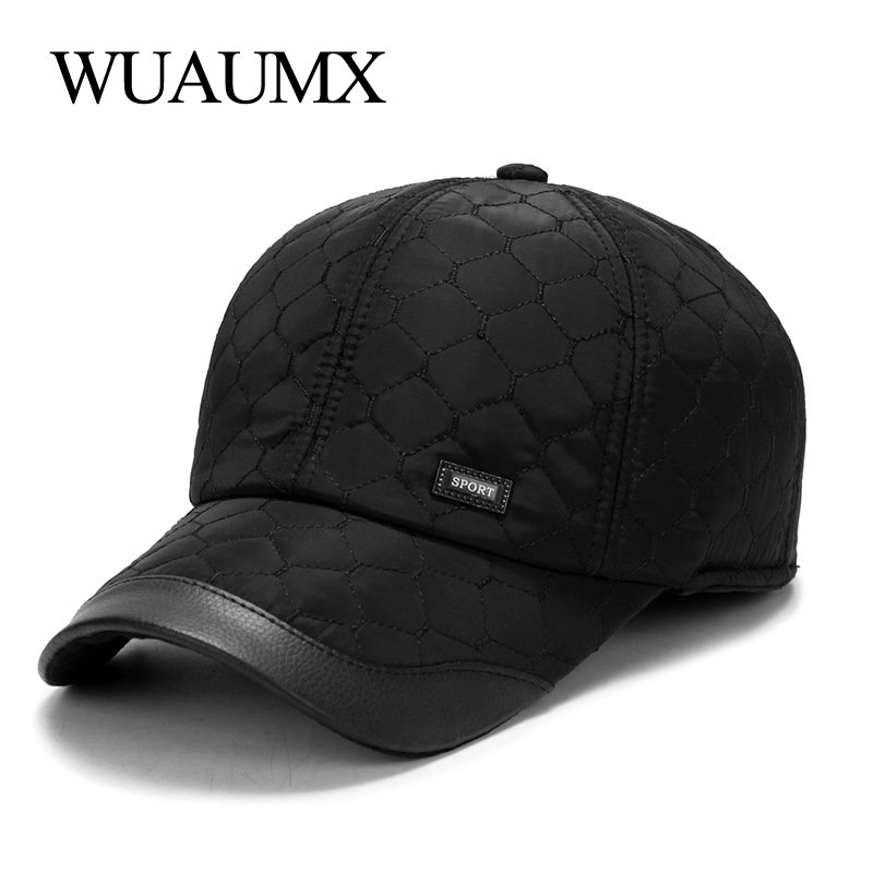 Wuaumx Autumn Winter   Baseball     Cap   For Men With Ear flaps Cotton Warm Thick Bone Snapback   Cap   Men Vintage Dad Hat Casquette homme
