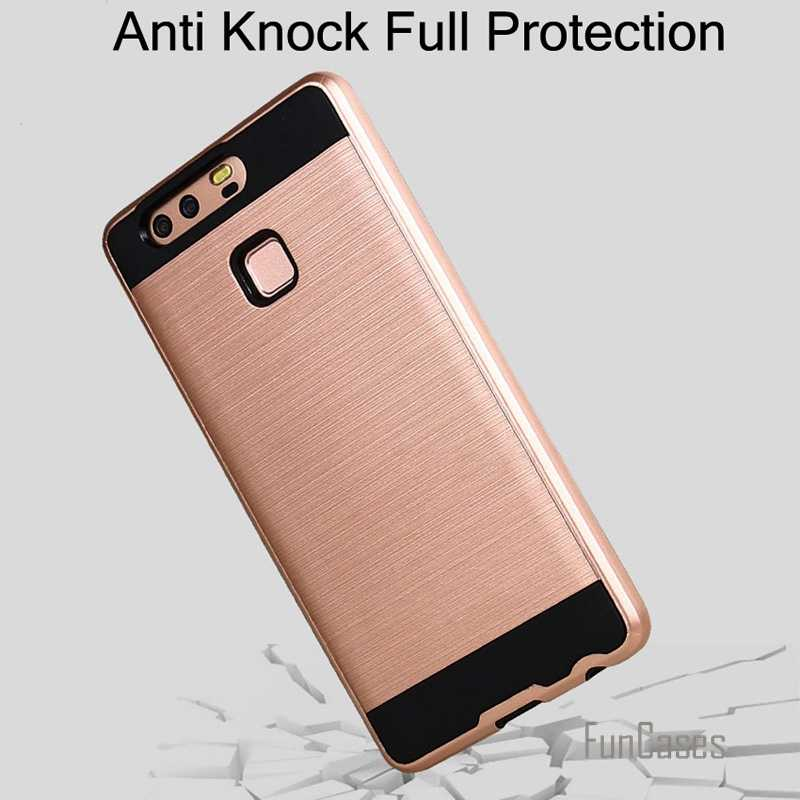 P9 case v5 armor phone cover brushed case for huawei ascend P9 hard tough anti knock Plastic + TPU phone case bags kryty celular