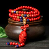 Natural Cinnabar Prayer Gold Lapis lazuli Beads Tibetan Buddhist carving Buddha pendant Bracelet Rosary Necklace Bangle Jewelry