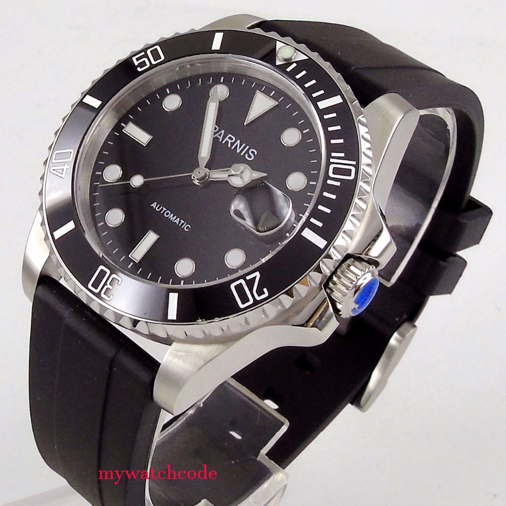 40mm Parnis black dial ceramic bezel 21 jewel Miyota automatic mens watch P463