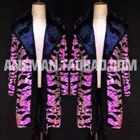S 6XL! атмосфера Бар ночной клуб мужчины шоу представление Одежда флуоресцентный розовый ослепительный цвет мех шоу пальто.