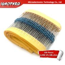 100 peças de 1/4w 10k ohm 1/4w-10k 10 augm, 1 lote resistor de filme metálico 0.25w 1% alta qualidade