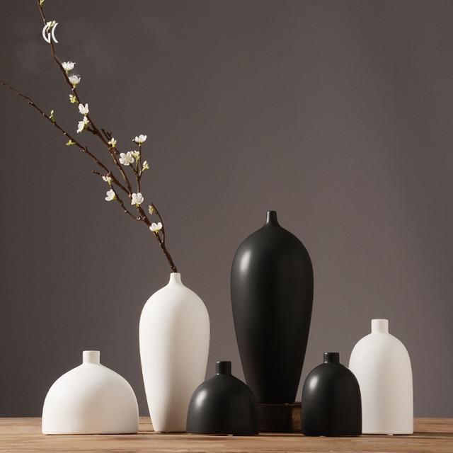 modern white black jarrones decorativos eramic vase desktop porcelain flower vase chinese arts and crafts - Jarrones Decorativos