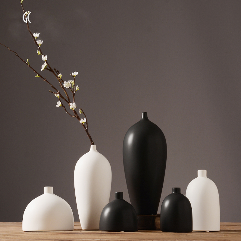 modern white black jarrones decorativos eramic vase desktop porcelain flower vase chinese arts and crafts wedding home decor