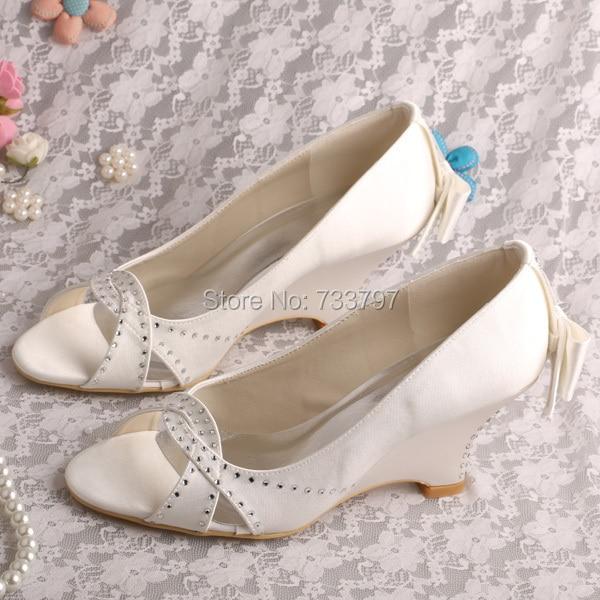 Wedopus MW223 Brand Name Bride Wedge Shoes Ivory Satin