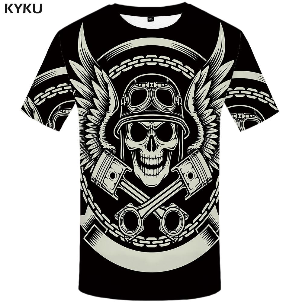 KYKU Skull T Shirt Men Black Military Tshirt Feather 3d Print T-shirt Punk Rock Clothes Anime Hip Hop Mens Clothing Casual Tops