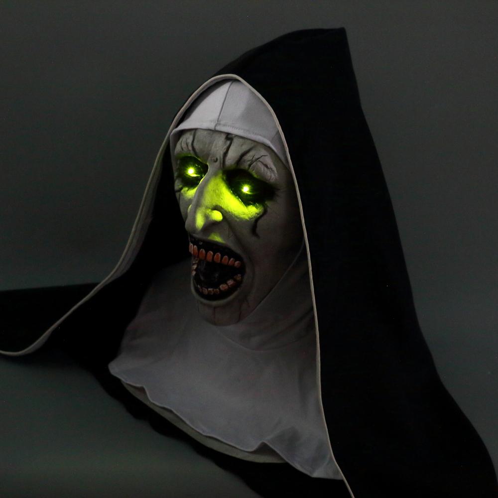 The Nun Mask Horror Mask With Scary Voice With Led light Cosplay Valak Latex Masks With Headscarf Helmet Halloween Party Props (8)