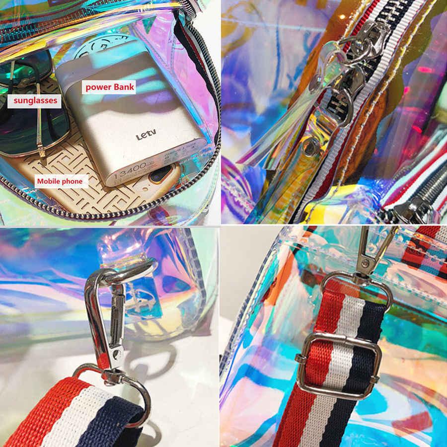 新ファッションガール透明な PVC ミニバックパックスクールブックバッグレーザーゼリー透明バックパック