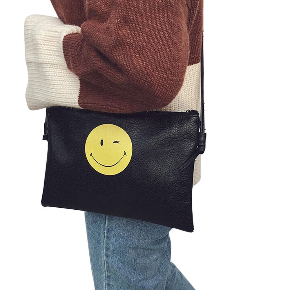 2018 Women Leather Shoulder Envelope Handbag Bag Smile Face Messenger Bag Tote Purse wholesale gift bolsas mujer female bolsos