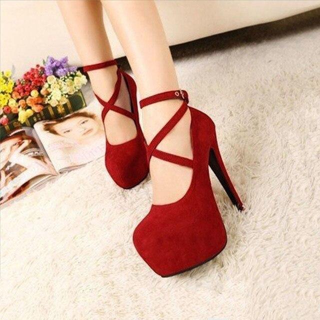 Sexy Estilo Formal OL Correa de Tobillo con cordones de la Plataforma Del Alto Talón zapatos de Gran Tamaño Negro Rojo Mujeres Bombas Tacones de Espagueti tacones