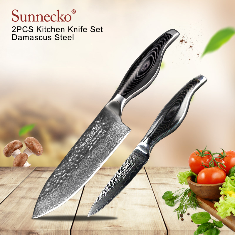 SUNNECKO 2PCS Kitchen Knives Set Boning Utility Knife Damascus Steel Japanese VG10 Blade Cleaver Santoku Chef