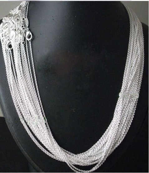 "Wholesale price 50 pcs / lot 925 stamped Silver Plated 1mm Link Rolo Chains 16""---24""  inch, Fashion Jewelry Women"