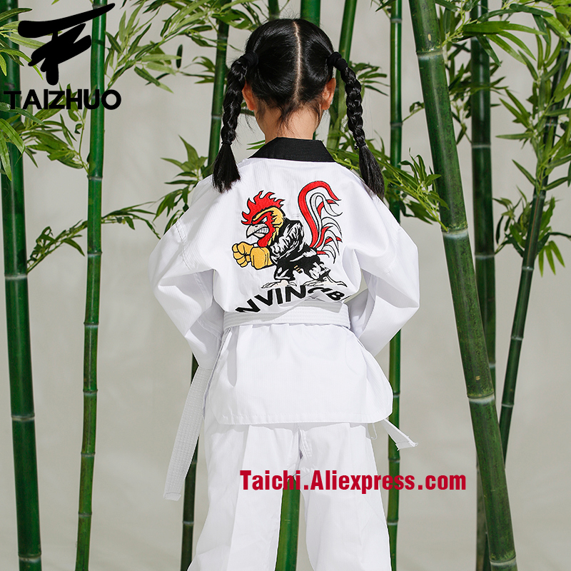 Martial Arts  Tae Kwon Do Children Taekwondo Uinform For Poomsae & Training,WTF Uniform,110-155cm White Color Cock Embroidery