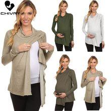 Chivry Maternity Tops Breastfeeding Clothes Long Sleeve Turtle-neck Pregnant Autumn Women Nursing Pregnancy T Shirt