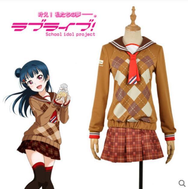Anime LoveLive!Sunshine!! Cos Aqours Tsushima Yoshiko Halloween Cosplay Female Chocolate Valentine's Day daily Cosplay Costume