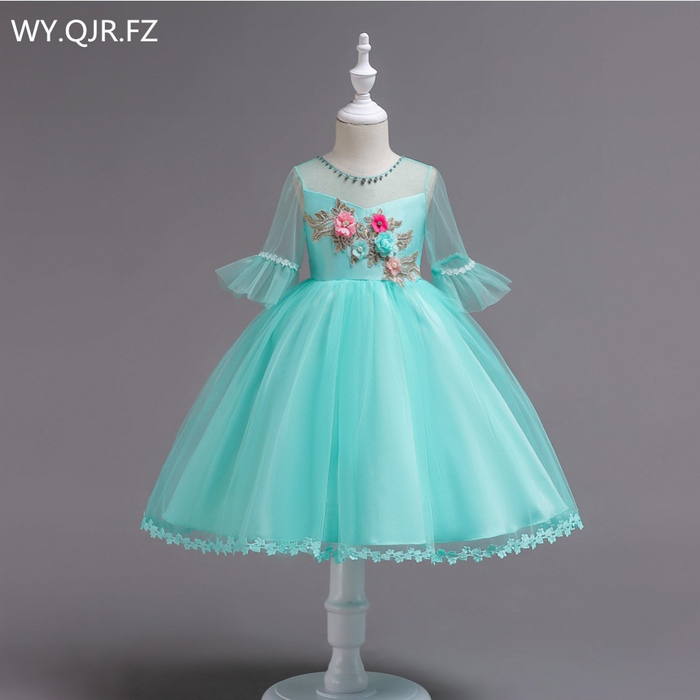 BH726L#Ball Gown Green   Flower     Girl     Dresses   European American short-sleeved embroidered children's princess   dress   2018 wholesale