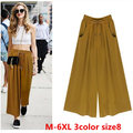 2016 Hot Sale Women Trousers High Quality Plus Size m-6xl Loose Casual Solid Color Pants Summer Spring Wide Leg Pants Pantyhose