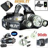 BORUiT B21 LED Headlamp Cree XML2+2xXPE Rechargeable LED Head Lamp Camping Flashlight Cycling Headlamp Light 18650
