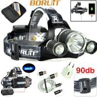 LED ไฟหน้าแบบชาร์จไฟได้ LED หลอดไฟ BORUiT B211000 lumen Cree XML2 + 2xXPE Camping ไฟฉายขี่จักรยานไฟหน้า 18650