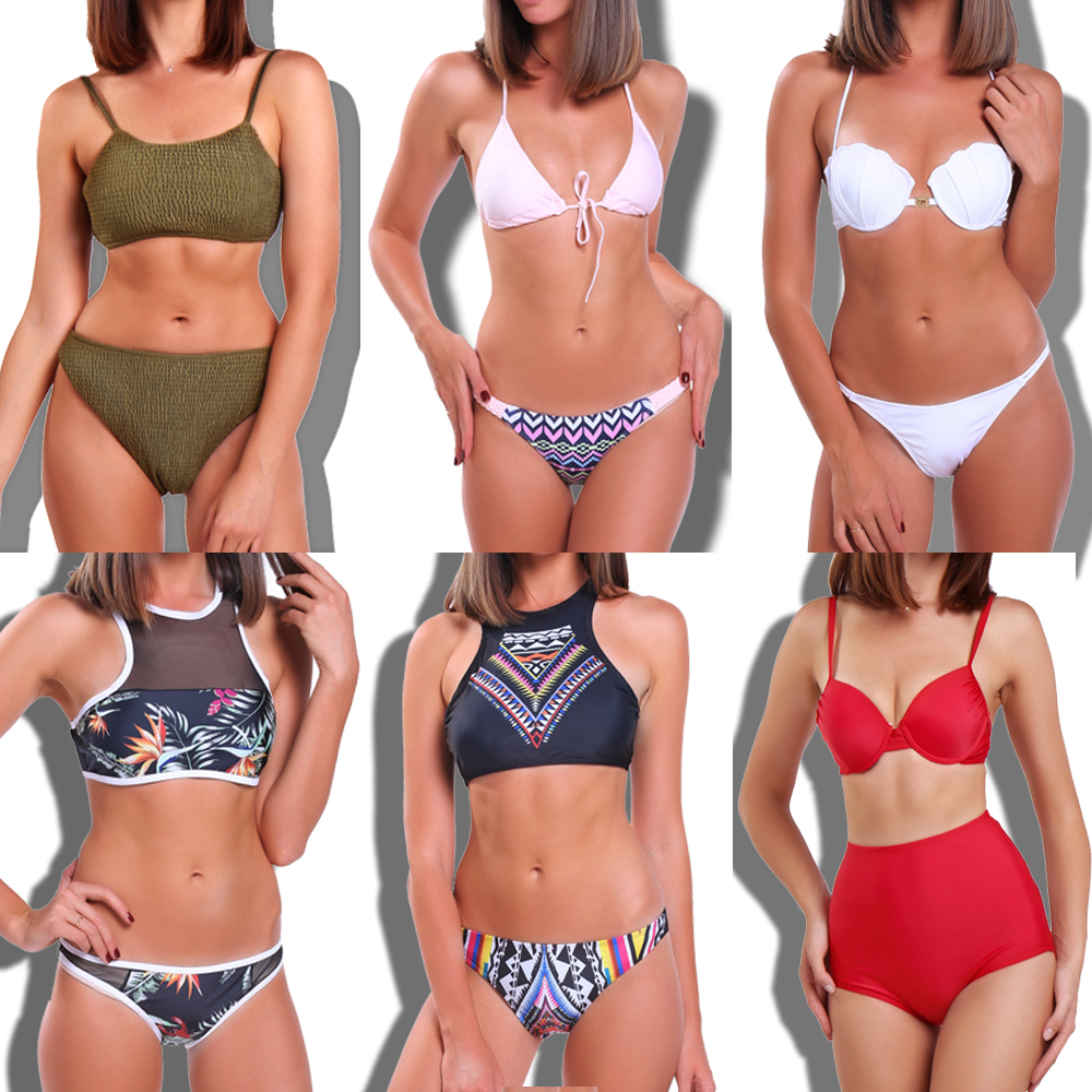 2018 New Bandage Bikinis Women Swimsuit High Waist Bathing Suit Swimwear Push Up Padded Bikini Set Vintage Retro Beach Wear kayvis 2017 new bikinis women swimsuit retro push up bikini set vintage plus size swimwear bathing suit swim beach wear 3xl