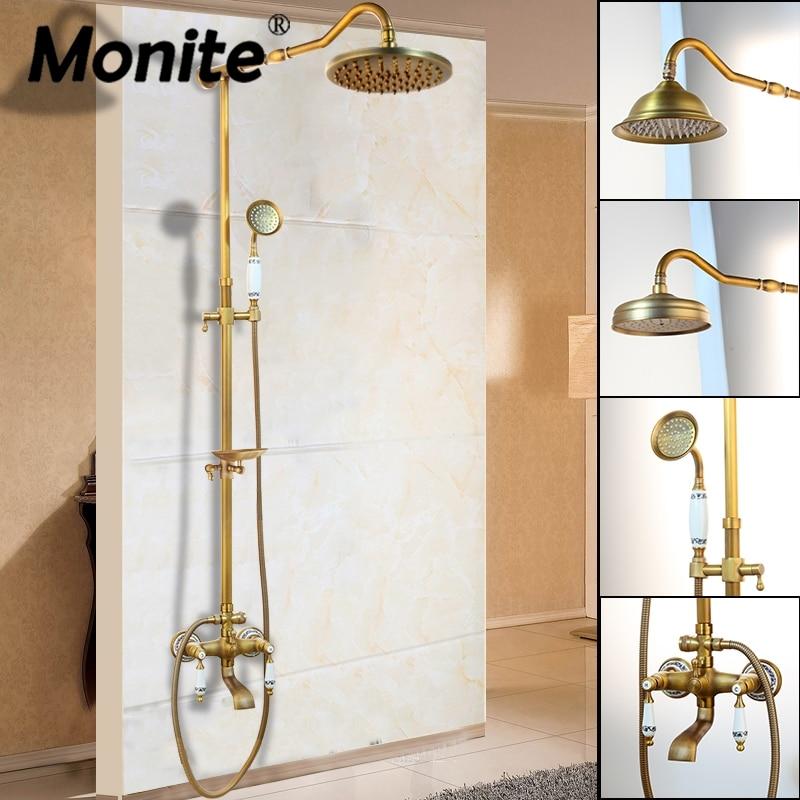 Monite ウォールマウント 8 インチの降雨シャワーミキサーアンティーク真鍮シャワー蛇口セットスライディングソープディッシュ Handshower 蛇口  グループ上の 家のリフォーム からの シャワー 蛇口 の中 1
