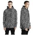 Высокое качество Осень зима kanye одежда хип-хоп толстовки мужчин ЧЕРНЫЙ ЛЕД hoodied толстовка одежда боковой молнии уличная толстовка