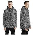 High quality Autumn winter kanye clothes hip hop hoodies men BLACK ICE hoodied sweatshirt clothing side zipper streetwear hoody